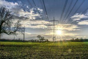power line, catenary, sun